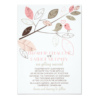 Cute Gray and Pink Lovebirds Wedding Invitation