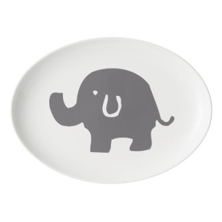 Cute Gray And White Elephant Porcelain Serving Platter