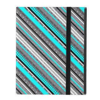 Cute gray aqua aztec patterns iPad folio cover