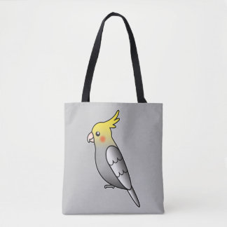 Cute Gray Cockatiel Cartoon Bird Illustration Tote Bag