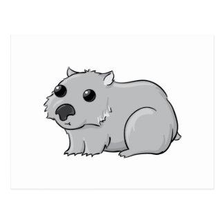 Cute Gray/Grey Cartoon Wombat Postcards