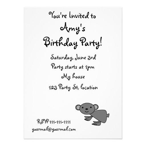 Cute gray koala personalized announcements