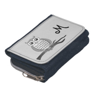 Cute Gray Owl Monogram Wallet