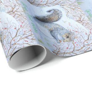 cute gray squirrel snow scene original wildlife wrapping paper
