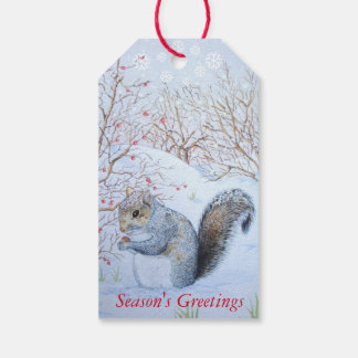 cute gray squirrel snow scene wildlife art gift tags