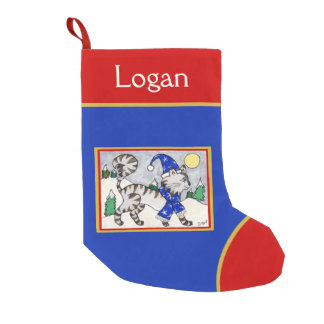 Cute Gray Tabby Cat in Snow with Blue Hat & Scarf Small Christmas Stocking