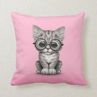 Cute Gray Tabby Kitten with Eye Glasses, pink Throw Cushion