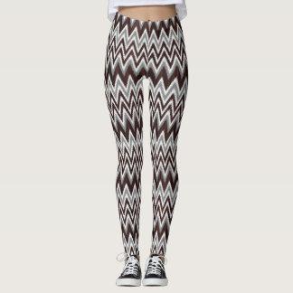 Cute gray wood zigzag stripes leggings