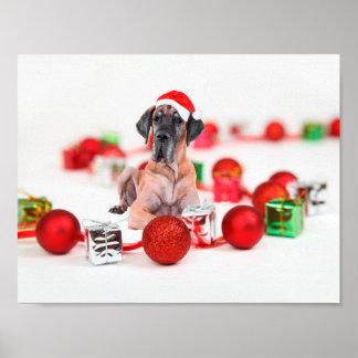 Cute Great Dane Dog Christmas Santa Hat Poster