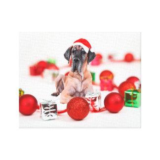 Cute Great Dane Dog Christmas Santa Stretched Canvas Print