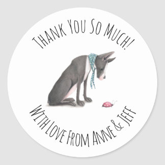 Cute Great Dane Dog Personalized Thank You Classic Round Sticker