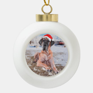 Cute Great Dane Dog Sitting In Snow Christmas Hat Ceramic Ball Christmas Ornament