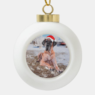 Cute Great Dane Dog Sitting In Snow Christmas Hat Ceramic Ball Decoration