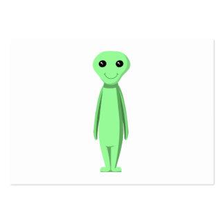 Cute Green Alien. Cartoon. Business Card Template