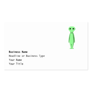 Cute Green Alien. Cartoon. Double-Sided Standard Business Cards (Pack Of 100)