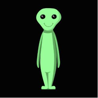 Cute Green Alien. Cartoon. Photo Sculpture Key Ring