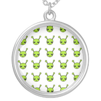Cute Green Aliens Round Pendant Necklace
