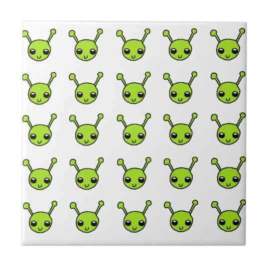 Cute Green Aliens Small Square Tile