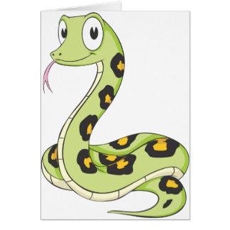 Cute Green Anaconda Snake Cartoon Greeting Card