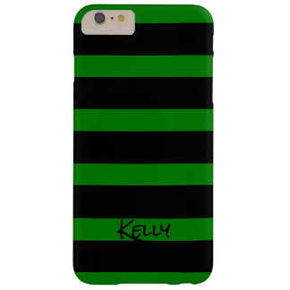 Cute Green and Black Striped Add Your Name Barely There iPhone 6 Plus Case