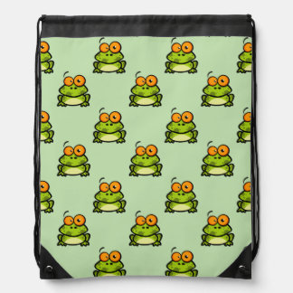 Cute Green and Orange Cartoon Frog Pattern Drawstring Backpacks