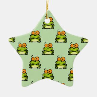 Cute Green and Orange Cartoon Frog Pattern Ceramic Star Decoration