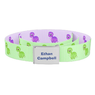 Cute Green and Purple Baby Dinosaurs Belt