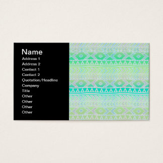 Cute Green and Teal Aztec Stylic Pattern Business Card