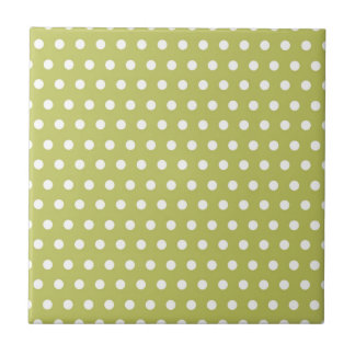 Cute Green and White Polka Dots Pattern Gifts Tile