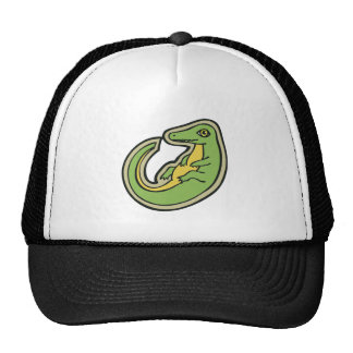 Cute Green And Yellow Alligator Drawing Design Cap