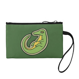 Cute Green And Yellow Alligator Drawing Design Coin Purse