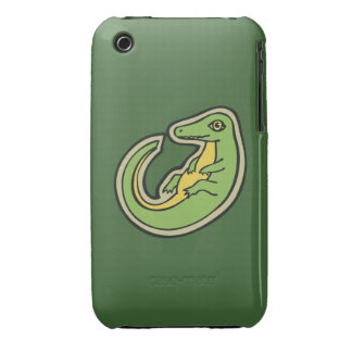 Cute Green And Yellow Alligator Drawing Design iPhone 3 Covers