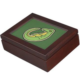 Cute Green And Yellow Alligator Drawing Design Keepsake Boxes