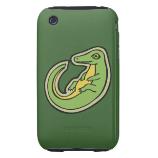 Cute Green And Yellow Alligator Drawing Design Tough iPhone 3 Cover