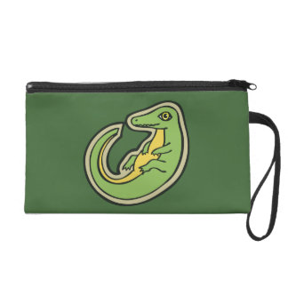 Cute Green And Yellow Alligator Drawing Design Wristlet