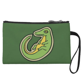 Cute Green And Yellow Alligator Drawing Design Wristlet Purse