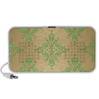 Cute Green and Yellow Damask Mini Speakers