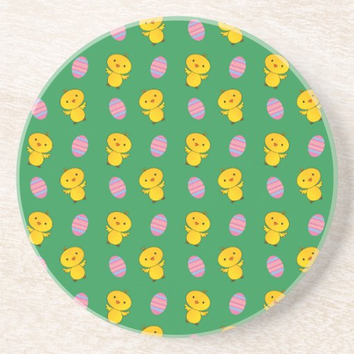 Cute green baby chick easter pattern beverage coasters
