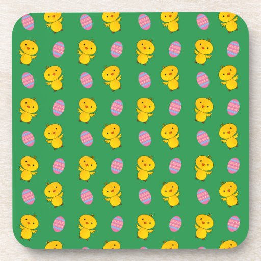 Cute green baby chick easter pattern coaster