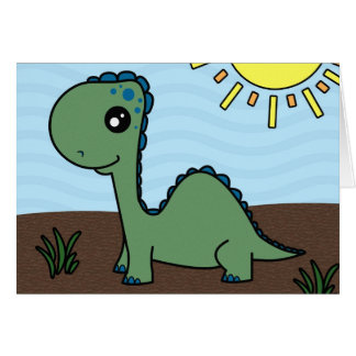 Cute Green Baby Dinosaur Card
