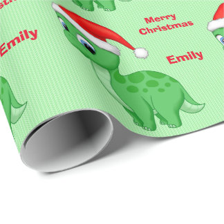 Cute Green Baby Dinosour with Santa Hat Wrapping Paper