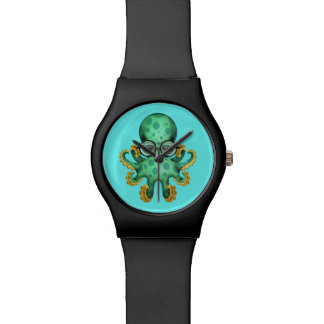 Cute Green Baby Octopus Wearing Glasses on Blue Wristwatches