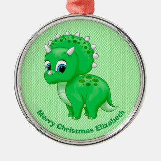 Cute Green Baby Triceratops Dinosaur Christmas Ornament