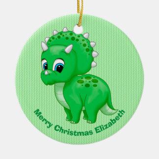 Cute Green Baby Triceratops Dinosaur Christmas Ornament