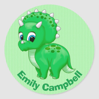 Cute Green Baby Triceratops Dinosaur Classic Round Sticker