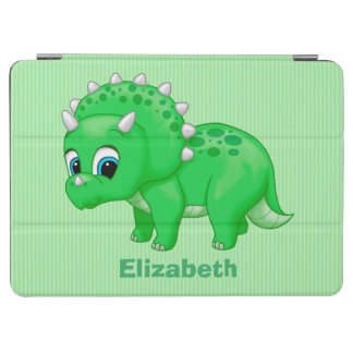 Cute Green Baby Triceratops Dinosaur iPad Air Cover