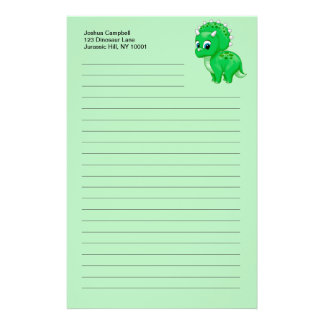 Cute Green Baby Triceratops Dinosaur Personalized Stationery