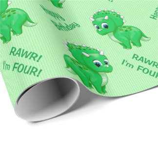 Cute Green Baby Triceratops Dinosaur Wrapping Paper