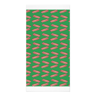 Cute green bacon pattern customised photo card