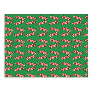 Cute green bacon pattern postcard